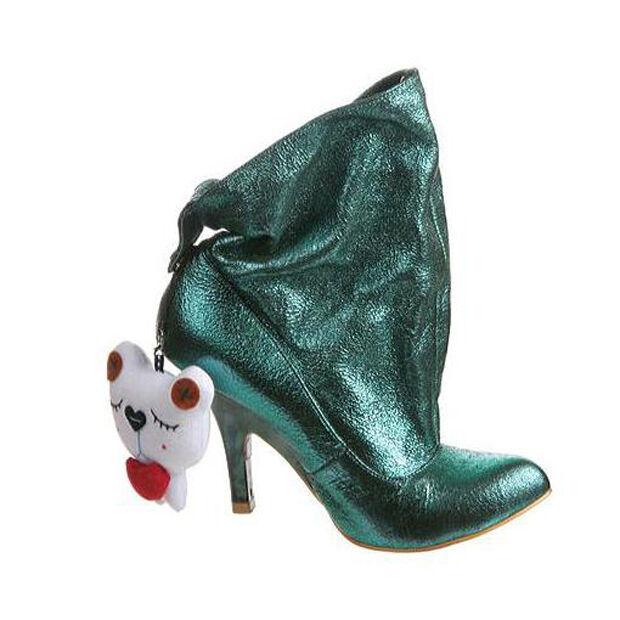 IRREGULAR CHOICE LITTLE FISH GREEN LEATHER 7.5 Schuhe BOOTIES STYLISH 6.5 7.5 LEATHER NIB f3fde7
