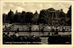 FRIEDRICHRODA-Schwimmbad-1958-DDR-Postkarte-Thueringen-Thueringer-Wald-ungelaufen