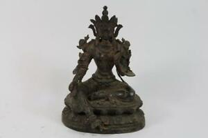 Skulptur-Bronze-Restvergoldung-Buddha-Tara-in-Meditation-China-Tibet