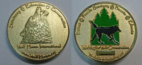 Wolf Haven International Series 3 Trackable Geocoin 2012 Gold color