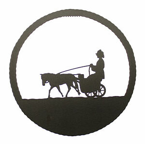 Miniature-Driving-Horse-in-Round-Wall-Plaque
