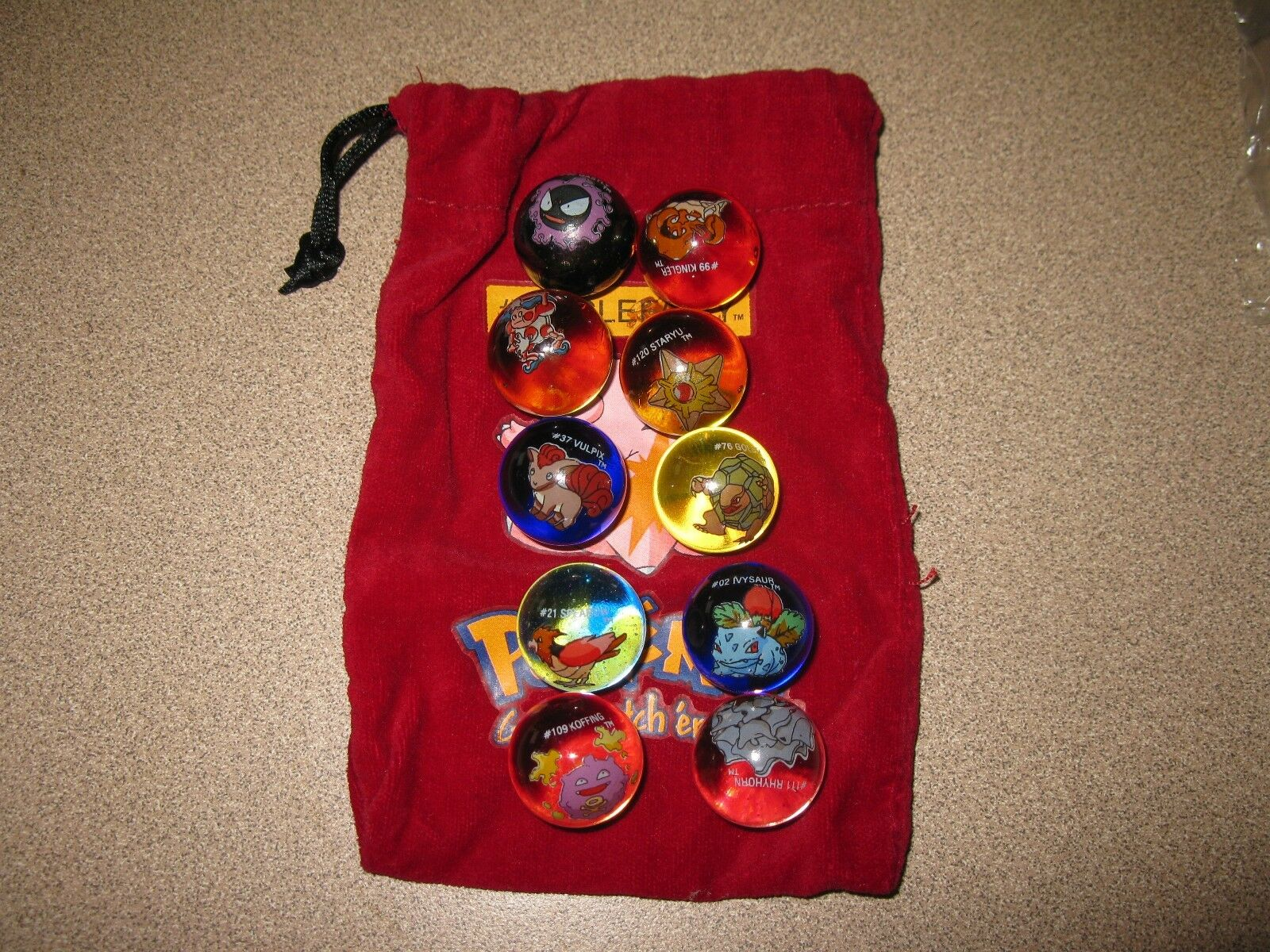Lot Of 10 Collectible Vintage  Pokemon Glass Shooter Marbles Bag  35 CLEAFAIRY
