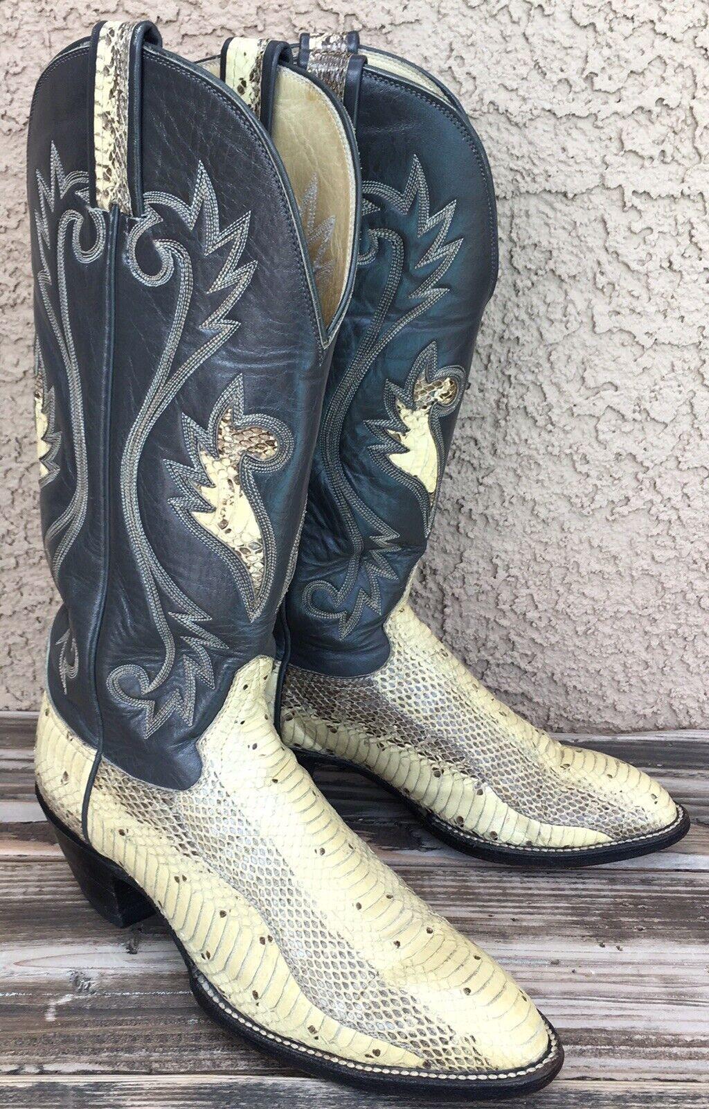 Hondo stivali Vtg Western Cowboy Exotic Python Snakeskin Sz 8.5 donna's Marked 6C