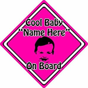 Personalised-Cool-Baby-Child-On-Board-Car-Sign-Baby-Face-Silhouette-Pink