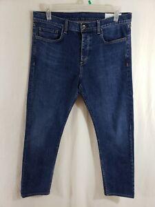 Rag-and-Bone-Slim-Leg-Mens-Denim-Blue-Jeans-Size-34-x-29-Straight-Leg-Dark-Wash