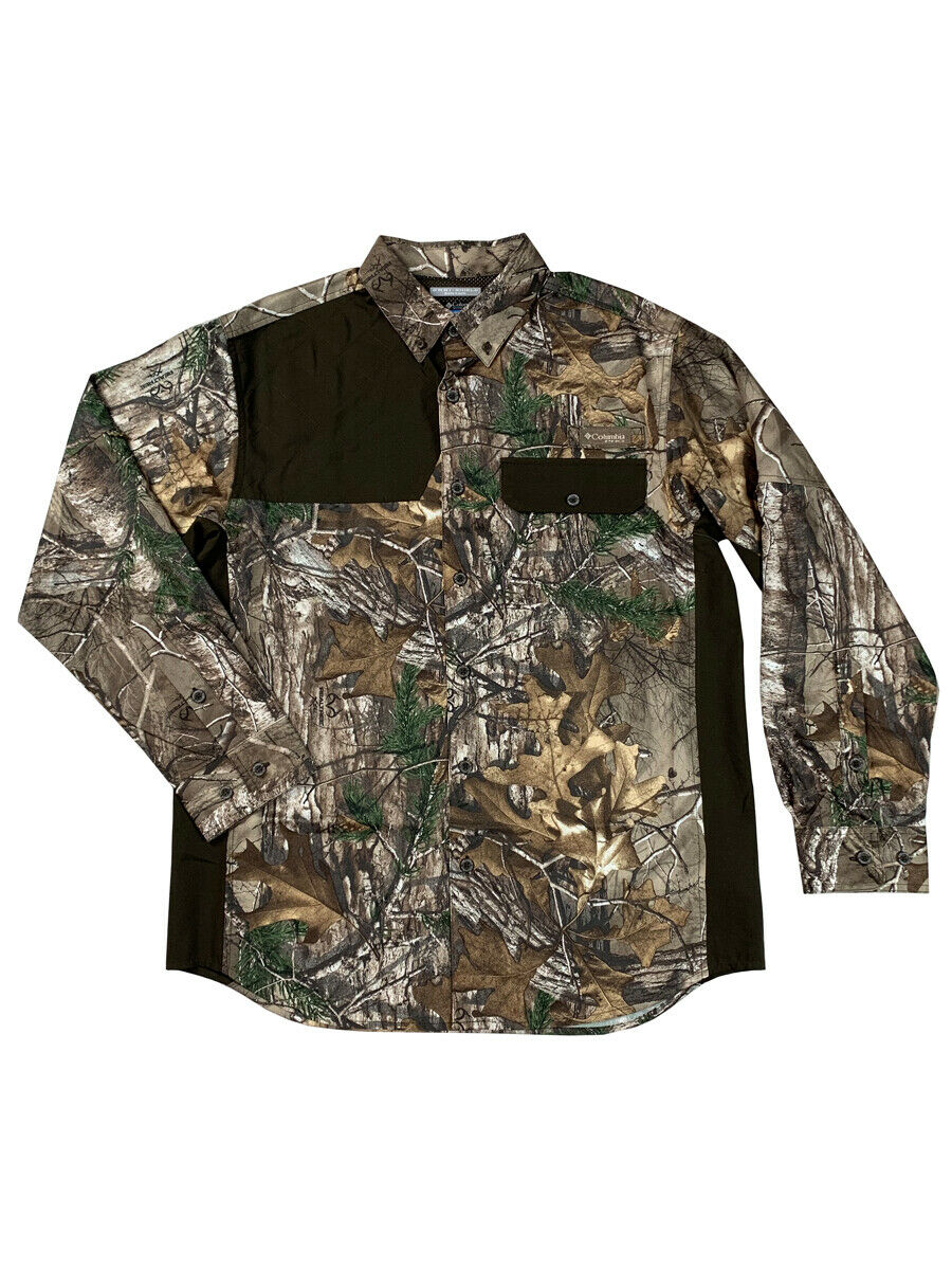 Columbia Mens Mossy Oak Biggs Landing BNG Long Sleeve Realtree Camo Shirt New