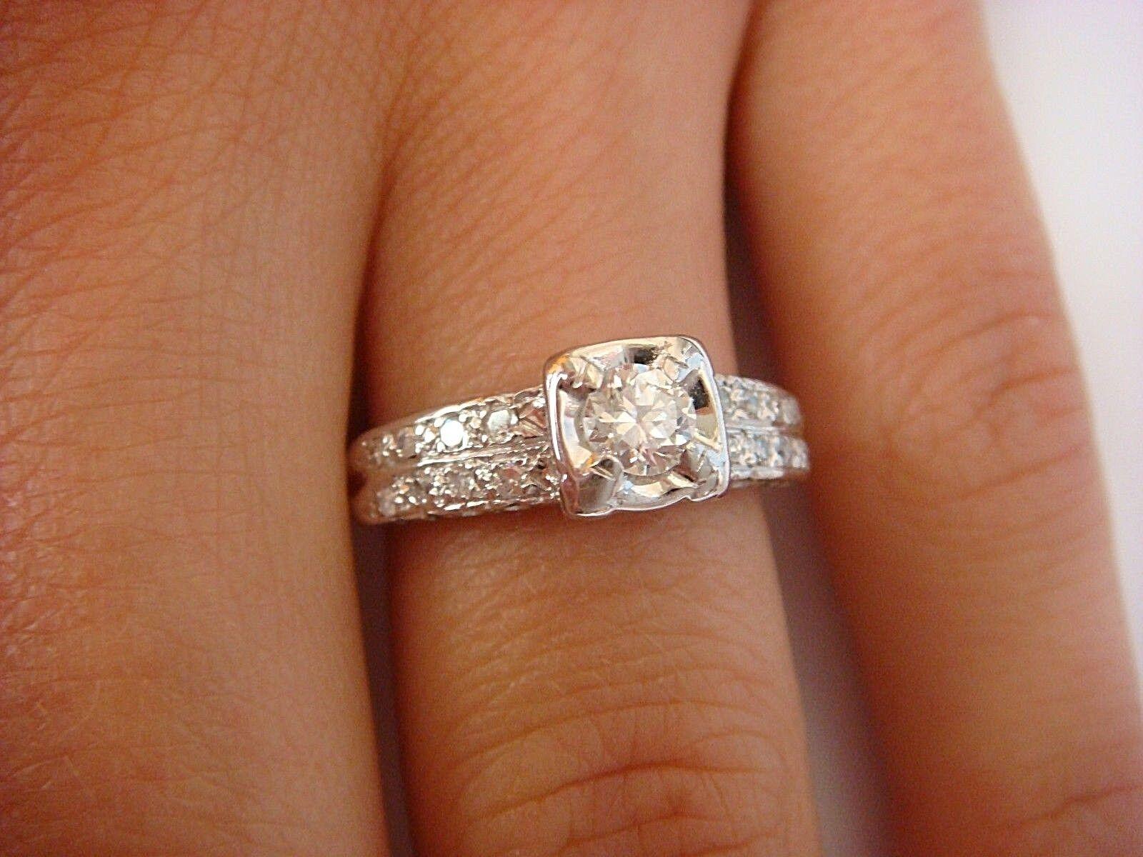 14k White Gold Engagement Wedding Semi Mount Diamond Ring Heart Shape 8.5x8.5mm Lustrous Engagement & Wedding