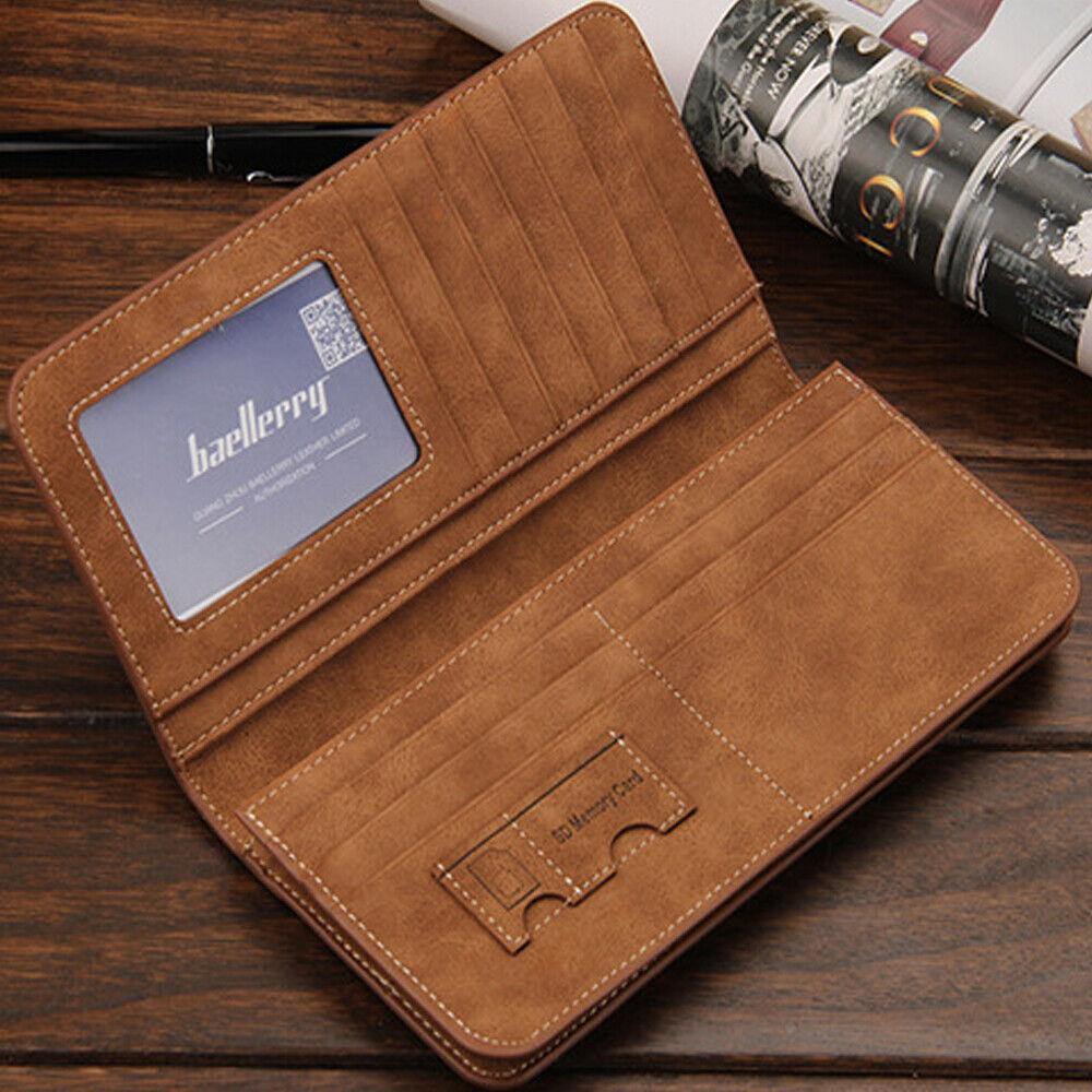Retro Men Leather Wallet Bifold Credit Card Holder Purse Long Clutch Handbag US