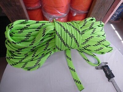 "Climbing & Caving Hollow/flat Braid Polyester Rope .lime/black.us Made High Quality Materials Nice 7/8"" X 100 Ft"