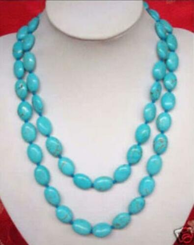 "Nouveau 13x18MM Turquie naturel bleu Turquoise collier 35 /""AAA"