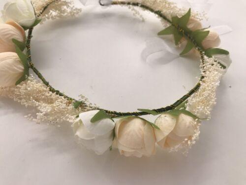 Women Flower Girl babys breath wedding Beige Flower Hair Headband crown Garland