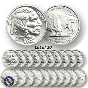 Lot-of-20-New-1-10-oz-Indian-Buffalo-Design-999-Fine-Silver-Rounds