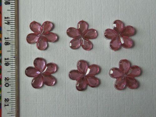 50 Pink Acrylic Flower Gems Flatback Baby Christening Weddings Cards 15mm