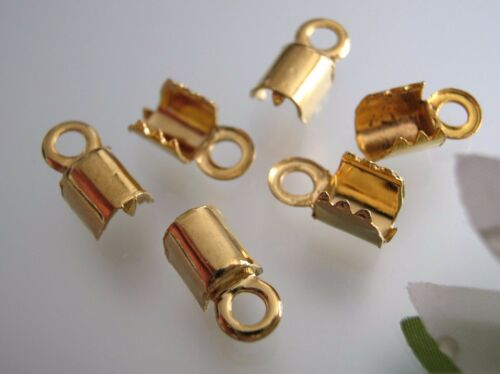 10 pcs vintage USA made gold plated end cap crimp for Cord 6.6 x 7.5 mm w//o bail