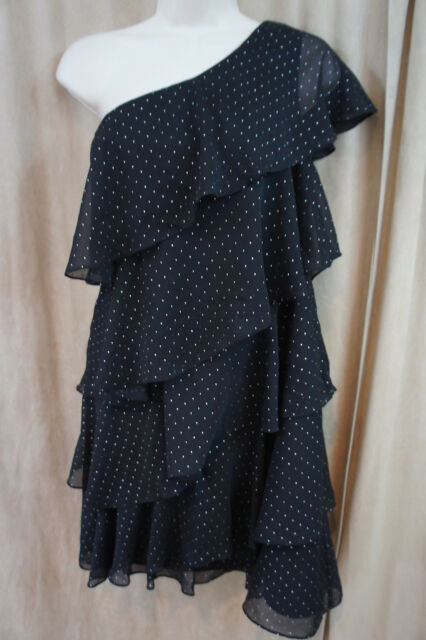 Mattox Dress Sz 8 Black Silver Dots One Shoulder Tiered Evening Cocktail Dress