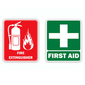 Fire Extinguisher and First Aid Kit Located in Trunk Safety Decal