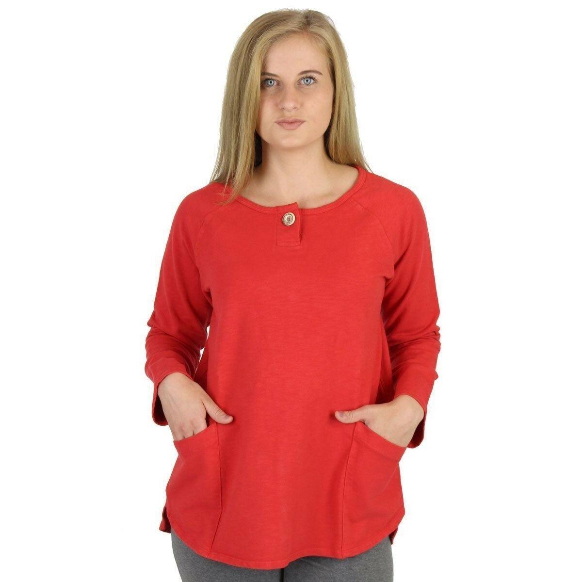 Cotton Terry Knit Henley Top - I CAN TOO - 100% Cotton - Made in USA