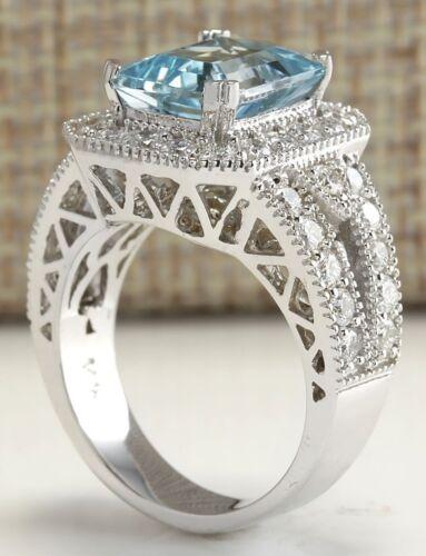 925 Silver Princess Cut Aquamarine White Cz Bridal Engagement Ring Women Jewelry