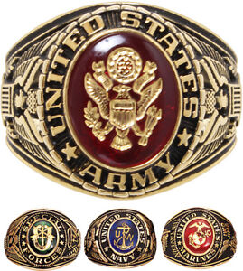 us made official military ring 18k gold plated armed forces