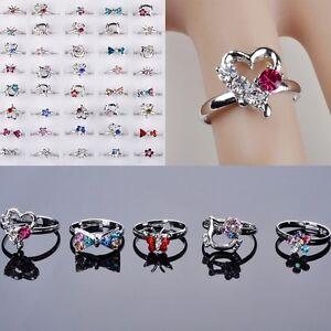 20x-Grosshandel-Nette-Ring-Einstellbar-Kristall-Silber-ueberzogene-Kinder-Ringe