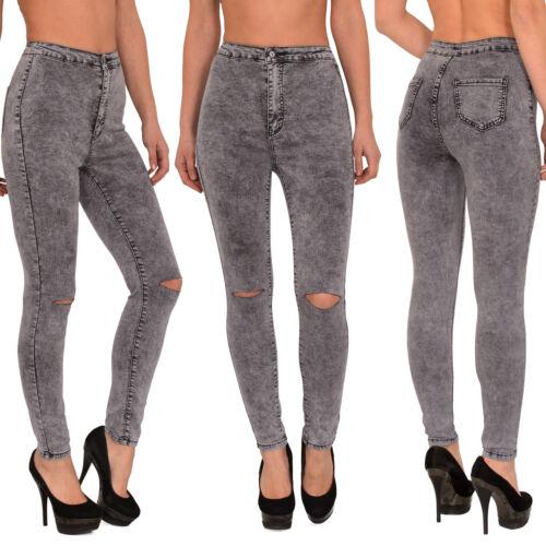 JEANS donna pantaloni crepe al Ginocchio High Waist jeans Pantaloni Jeans a Sigaretta Tubo j184