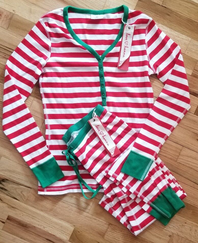 NWT HANNA ANDERSSON  RED STRIPE HENLEY XMAS DRAWSTRING PAJAMAS SET S SMALL 4 6