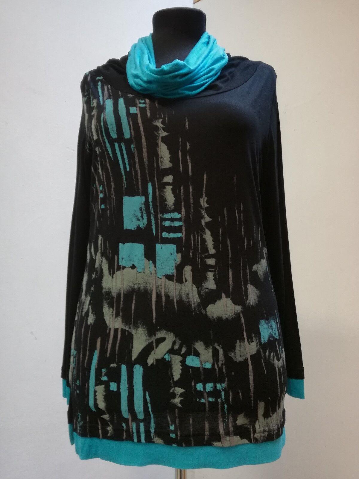 Shirt-Damen Hegler, Gr. 38-44, schöner weiter Wasserfallkragen Muster Vorderteil