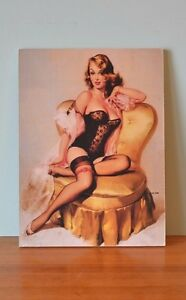 Vintage-Pin-up-girl-block-mounted-USA-Evergres-boudoir-chair