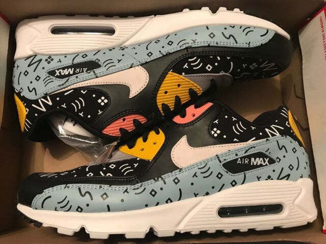 the best attitude fea1a c7028 NIKE AIR MAX 90 PREMIUM SCRIBBLES OCEAN BLISS SAIL-BLACK 700155-405 Size