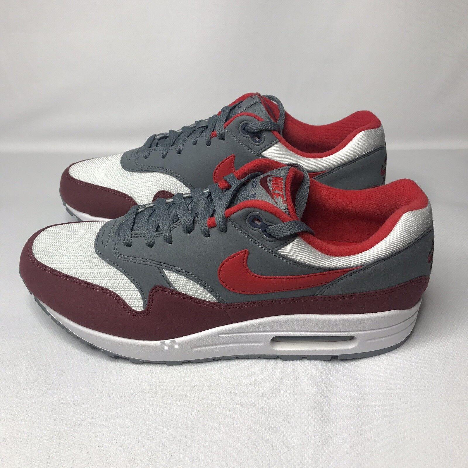 Nike Air Max 1 White University Red Cool Grey shoes Men's Sz 8 AH8145 100