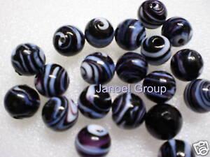 10 pieces, 12mm Round Black/White Swirl Lampwork Beads