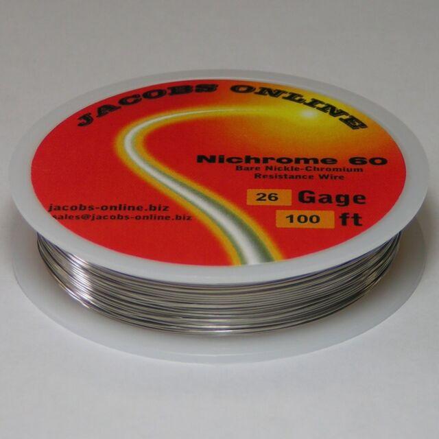 Nichrome 60 resistance wire, 26 AWG (gauge), 100 feet