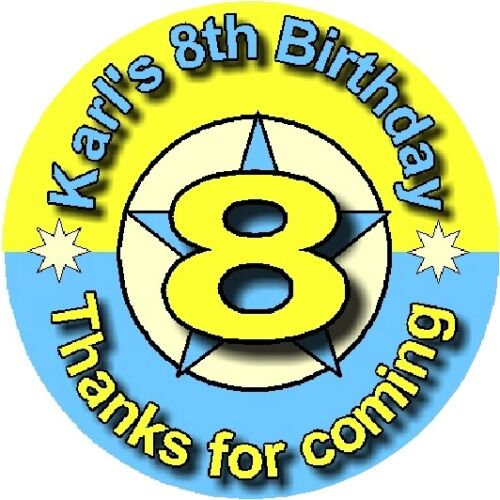 Personalised Birthday Stickers 40mm OR 60mm STAR ANY AGE DESIGN BIRTHDAY