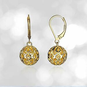 Filigree Ball in 3 Color Lever back Dangle Earring Handmade 925 Silver Jewelry