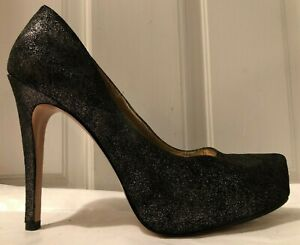 2834903120df Image is loading BCBGeneration-Parade-Black-Silver-Metallic-Leather-Pumps- Women-