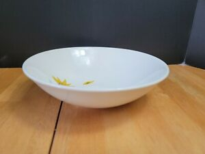 Vintage Canonsburg Pottery Wind Blown Serving Bowl White with Yellow Daisy