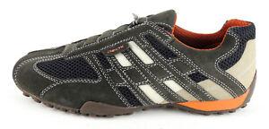 GEOX-Herren-Sneaker-Slipper-SNAKE-dark-grey-Wildlederleder-Nylon