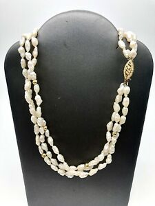 Antique-14k-Gold-Natura-Pearl-3-Strand-Necklace-With-Gold-Beads-Signed-Vintage