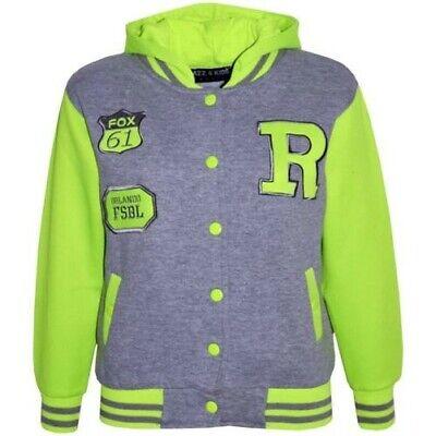 Kids Girls Boys Designer R Fashion Baseball Red Hooded Top Jacket Varsity Hoodie