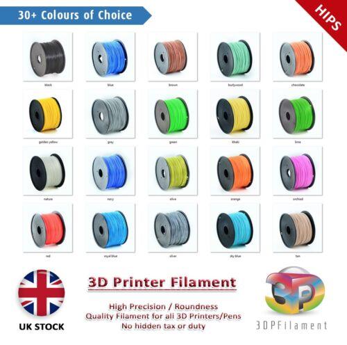 +//-0.02mm HIPS 1.75mm 3D Printer Filament 1kg net spool Premium 30+ Colours