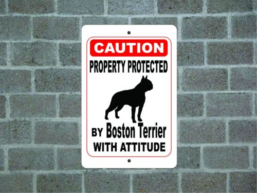 Property protected by Boston Terrier dog with attitude aluminum metal sign A