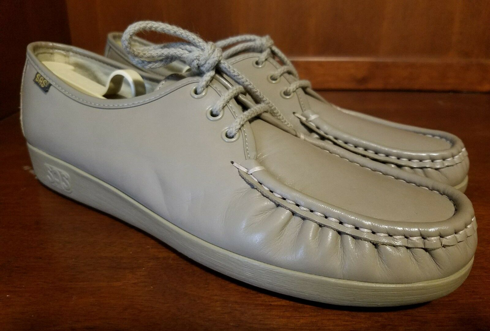 Damens SAS Beige Leder Lace Up Hand Sewn Schuhes Soft Step Heel Größe 11 S