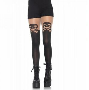 Black SKULL And CROSSBONE Opaque Pantyhose W/ Sheer Thigh Accent Goth Gothic New