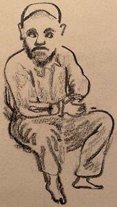 Vintage-50s-Seated-Man-Pencil-Graphite-Drawing-Illustration-Modern-Art-Signed