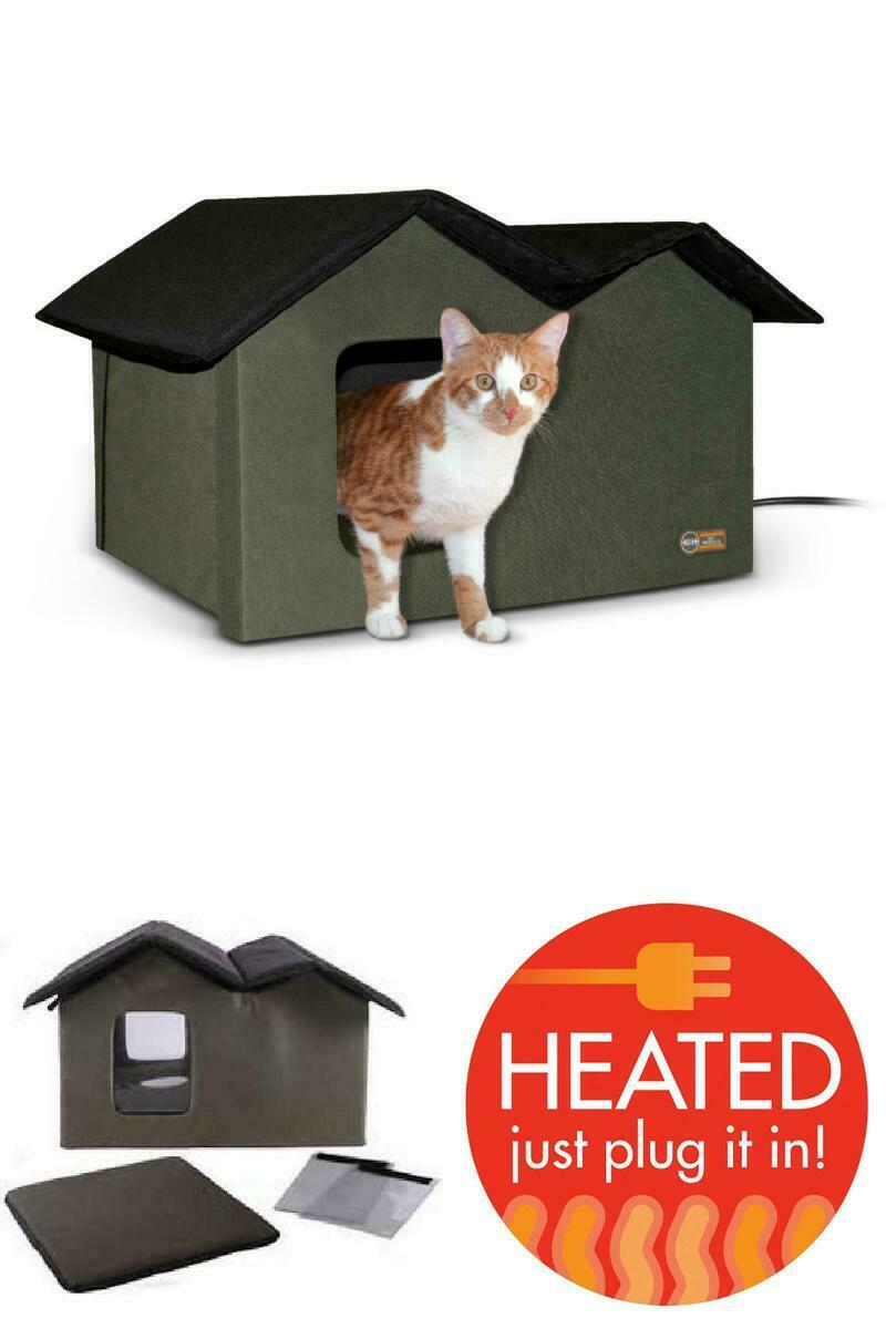 Outdoor Heated Kitty House Waterproof Cat Protection Pet Shelter Warm Kitten Bed For Sale Online Ebay