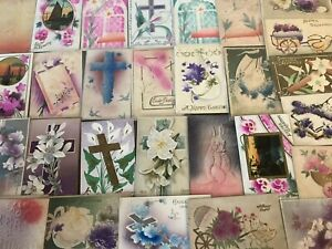 Lot-of-35-Antique-AIRBRUSHED-Embossed-Vintage-EASTER-Postcards-p399