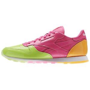 Reebok Kid's CLASSIC LEATHER DESSERT PACK Shoes Kiwi Green/Solar Pink BS7244 b