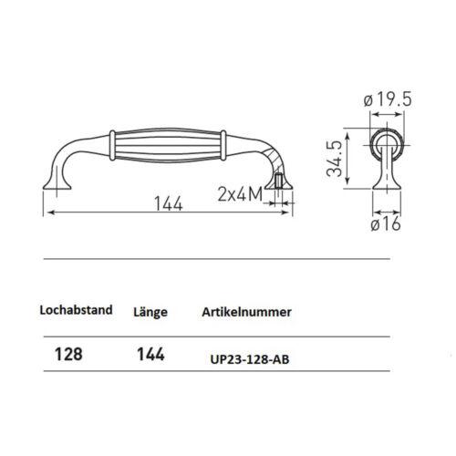 Küchengriff Möbelgriff Schrankgriff Knauf Möbelknauf Porzellan Vintage 128mm
