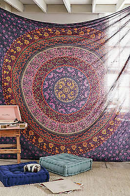 Indian Wall Hanging Hippie Mandala Tapestry Queen Cotton Bedspread Ethnic Dorm