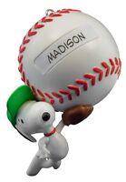 Slugger Snoopy 2016 Hallmark Christmas Ornament Peanuts Baseball Sports Boy Girl